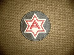 """Vintage Vietnam Era Military 3 six sided """"A"""" Star Patch Forest Green/Red/White"""