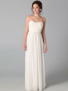 White prom dress, would be cute with a sparkly belt  See More Strapless at http://www.ourgreatshop.com/Strapless-C937.aspx