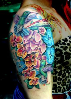 flowers with hummingbirds tattoo by Mirek vel Stotker