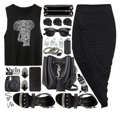 """sheinside"" by ruska-10 ❤ liked on Polyvore featuring moda, Yves Saint Laurent, Bottega Veneta, ALDO, DKNY, Ateliers Ruby, L'Oréal Paris, Aesop, vintage y black"