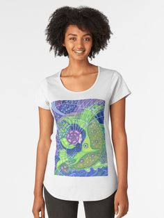 """""""""""Dream of the fullmoon"""", surreal art mermaid fantasy, underwater, blue and green colors"""" Women's Premium T-Shirts by clipsocallipso   Redbubble  """"Dream of the full moon"""" - surreal art, underwater fantasy in blue, green and purple colors.  Spirit of water merging with the gigantic  green fish in the surrealistic marine landscape with huge waves, full moon and starry sky. Acrylic painting on paper. © Clipso-Callipso / Julia Khoroshikh #psychedelic #art #surreal #underwater #aquatic #nautical…"""