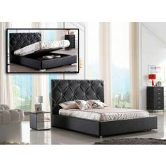 Zeus Modern Black Leather Platform Bed w/ Lift Storage - 1290.0000
