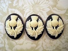 40x30mm Scottish Thistle Cameos (3) - L801-3 Jewelry Finding