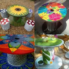 diy recycled wood cable spool furniture ideas & projects for porch decorating 46 - purple club Wooden Spool Tables, Cable Spool Tables, Wood Spool, Cable Spools, Hand Painted Furniture, Paint Furniture, Furniture Makeover, Furniture Ideas, Pallet Crafts