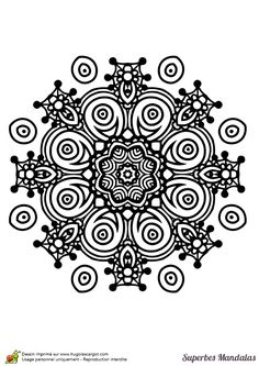 Coloriage d'un superbe mandala en forme d'étoile facile à colorier - Hugolescargot.com