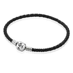 $24 PANDORA Black Single Braided Leather Bracelet foe Mens
