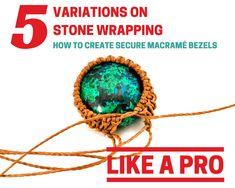 Stone Wrapping Macrame Bezel Tutorial for Micro-Macrame Jewelry - Jewellery - Accessories - Macrame Jewelry Tutorial, Macrame Necklace, Macrame Bracelets, Micro Macrame Tutorial, Loom Bracelets, Micro Macramé, Hemp Jewelry, Jewelry Crafts, Jewellery