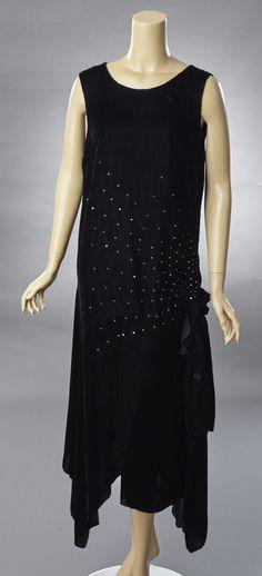 Black Silk Velvet and Rhinestone Evening Gown