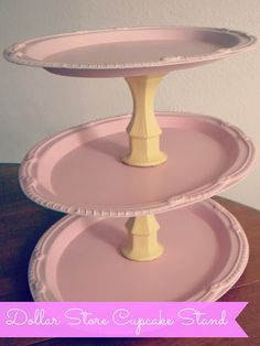 DIY: Dollar Store Cupcake Stand 2 candle stick holders 3 plates Spray paint in coordinating colors Glue gun or any heavy duty glue - Diy Home Decor Dollar Store Porta Cupcake, Cupcake Tree, Cupcake Stands, Easy Crafts, Easy Diy, Crafts For Kids, Dollar Store Crafts, Dollar Stores, Candlestick Holders
