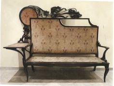 Carlo Zen, legno tinto e scolpito  velluto, specchio, 1910-1918
