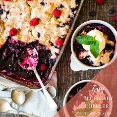 This easy blueberry cobbler recipe has a pillowy cloud of buttery cobbler topping with the most delicate, shiny sugar crust. Top with red berries and make it a perfect patriotic addition to your summertime table! #blueberries #cobbler #easycobblerrecipe #blueberrycobbler #summerdesserts #easyblueberrycobbler