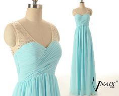 Custom Color Size Elegant Formal Zipper Up Blue Long Chiffon See Through V Neck With Beads Bridesmaid Dress Prom Dress Evening dress