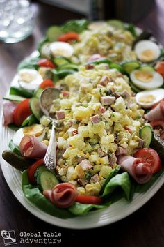 """Dutch Potato Salad - """"Huzaren salade"""" - A salad we'd eat during the New Year's Eve festivities, together with other kinds as well. Amish Recipes, Cooking Recipes, Netherlands Food, Amsterdam Netherlands, Pesto, Steamed Asparagus, Salad Ingredients, Budget Meals, International Recipes"""