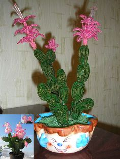 КАКТУС ИЗ БИСЕРА . Обсуждение на LiveInternet - Российский Сервис… Wire Crafts, Bead Crafts, Diy And Crafts, French Beaded Flowers, Wire Flowers, Cactus, Beads And Wire, Flower Tutorial, Bead Art