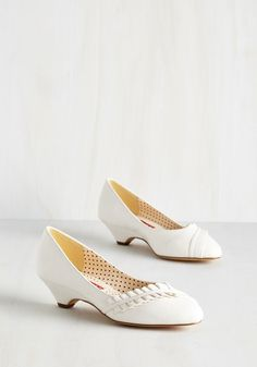 Love at First Excite Heel in White by Bait Footwear - Low, Faux Leather, White, Solid, Ruching, Wedding, Daytime Party, Bridesmaid, Bride, Vintage Inspired, 20s, Spring, Better, Variation, Darling
