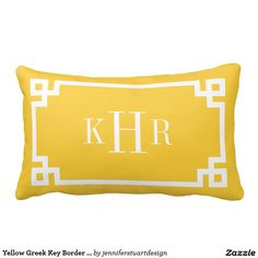 Yellow Greek Key Border Custom Monogram Throw Pillow