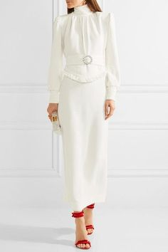 Alessandra Rich - Ruffle-trimmed Stretch-cady Gown - White - IT White Gowns, White Dress, Coat Dress, Dress Skirt, Edie Parker Clutch, Embellished Belt, Red Sandals, Queen Dress, My Boutique