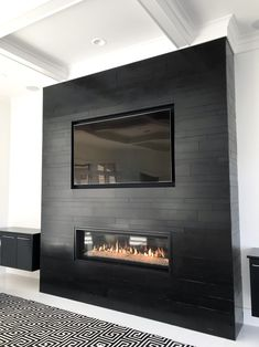 39 The Best Modern Fireplace Design Ideas For Modern Interior - There are many different ideas for creating modern fireplaces. In most instances, the fireplace is considered to be the focal point when it comes to i. Tiled Fireplace Wall, Fireplace Feature Wall, Home Fireplace, Fireplace Remodel, Living Room With Fireplace, Fireplace Surrounds, Home Living Room, Living Room Designs, Fireplace Modern