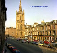 This is the main street in Montrose, Angus, Scotland showing the landmark church with a steeple which still rings its bells at 10pm for curfew. It's a long standing custom. (Photo by the local Van Werninck Studio)