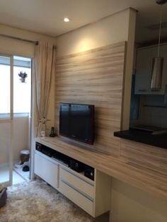 Sala integrada ao balcão da cozinha #selsala Granito somente em cima da bancada, na parte baixa usa-se madeira, com prolongamento para a sala