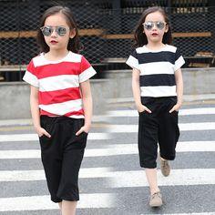 $18.79 (Buy here: https://alitems.com/g/1e8d114494ebda23ff8b16525dc3e8/?i=5&ulp=https%3A%2F%2Fwww.aliexpress.com%2Fitem%2FSummer-Girls-Clothing-Sets-Cotton-Fashion-Stripe-Short-Sleeve-T-Shirt-Big-Wide-Pants-Sets-2016%2F32652435042.html ) Summer Girls Clothing Sets Cotton Fashion Stripe Short Sleeve T Shirt & Big Wide Pants Sets 2016 New Kids Clothes 3-12T W1615116 for just $18.79
