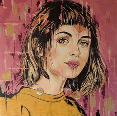 Dressed in yellow - Original Livien Rózen Art, Painting (90x90 cm) #portrait #painting #art #womenartist #faceportrait #popart #moody #contemporaryart #fineart #livienrozen #buyartonline