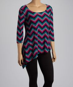 Another great find on #zulily! Magenta & Teal Chevron Asymmetrical Scoop Neck Top - Plus #zulilyfinds