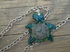 Handmade Clock Shell Turtle Pendant with by ConstantMindJewelry, $13.99