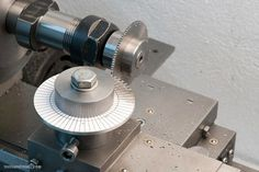 Cutting the tachometer wheel teeth on the lathe