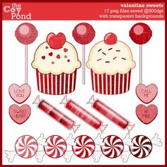 Valentine Clip Art Sweets  clipart candy by TheCoyPond on Etsy