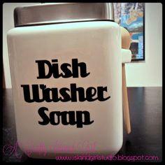 Green Clean: Dishwasher Detergent DIY -- From My Blog, A Crafty Island Girl -CLM