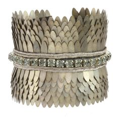 Deepa Gurnani Cuff with Silvered Brass Sequins & Faceted Crystals, Leather Lining and Clasp Fastening: Amazon.co.uk: Jewellery
