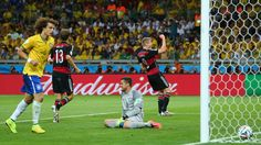 BELO HORIZONTE, BRAZIL - JULY 08: Andre Schuerrle of Germany celebrates scoring his team's sixth goal past goalkeeper Julio Cesar of Brazil during the 2014 FIFA World Cup Brazil Semi Final match between Brazil and Germany at Estadio Mineirao on July 8, 2014 in Belo Horizonte, Brazil... http://1502983.talkfusion.com/products/