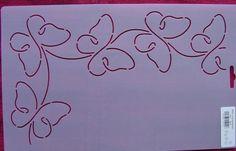 Continuous line butterflies stencil.