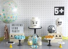 Black and White Lego Party Read More: http://www.stylemepretty.com/living/2014/10/23/modern-lego-birthday-party/
