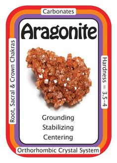 """Crystal Card of the Day: Aragonite, """"I am grounded and connected to the energy of the Earth."""" Aragonite is a good Earth healer, and encourages conservation of Earth's precious resources. Aragonite works with all of the chakras, but can work specifically with the Root/Base Chakra, for grounding and with the Earth-Star Chakra, for creating a deeper connection to planet Earth. Aragonite acts as a stabilizing stone, and can be helpful for those who have focused solely on spiritual pursu..."""