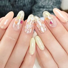 Clear Gel Nails with Floral and Mother of Pearl Inlay