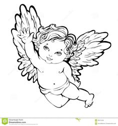 Angel Tattoos for Women Angel Tattoo Drawings, Angel Drawing, Cupid Tattoo, Cherub Tattoo, Engel Illustration, Tattoo Illustration, Angel Tattoo For Women, Tattoos For Women, Baby Engel Tattoo