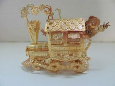 DANBURY MINT 23K GOLD PLATED CHRISTMAS ORNAMENT TRAIN LOCOMOTIVE SANTA 2003