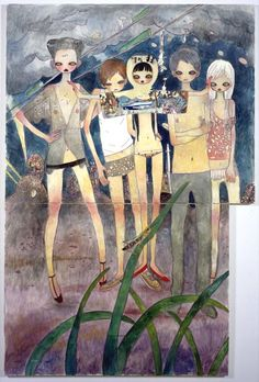"""Aya Takano - """"On the night of departure, black hair flows"""" 2003 Acrylic on canvas / Acrylique sur toile feet x 63 inches / x 162 cm Unique Sketchbook Inspiration, Art Sketchbook, Pretty Art, Cute Art, Art Inspo, Aya Takano, Bel Art, Art Mignon, Japon Illustration"""