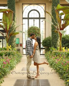 engagement photos engaged couple in love longwood gardens kennett square pa fall foliage fall photos kissing high heels kick pink and yellow flowers ivy tropical trees