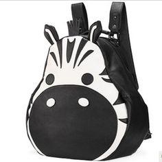 Lekker grote #zebra #rugzak met grappige, uitstekende oortjes. Deze en veel meer #tassen verkrijgbaar op www.stiksels.com