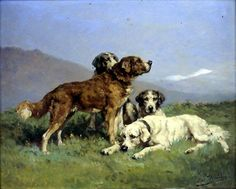 Hounds at Rest (Charles Olivier de Penne - ) Gabriel, Barbizon School, Master Art, Dog Paintings, Penne, Painters, Dogs, Animals, Olive Tree