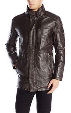 Eddie Bauer Men's Leather Car Coat, Vintage Brown M Regular ...