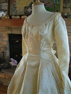 Wedding dress vintage 1950s brocade by RetroVintageWeddings, $420.00