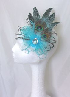 Turquoise Aqua Blue Peacock Feather Rustic Country Fascinator Hat Ascot Races