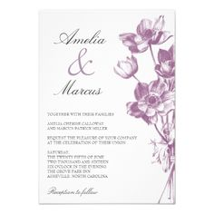 Floral Wedding RSVP Vintage Floral Wedding Mini Invitation / White