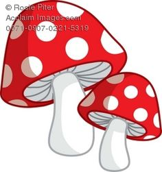 Clip Art Illustration Of A Pair Of Red Spotted Toadstools