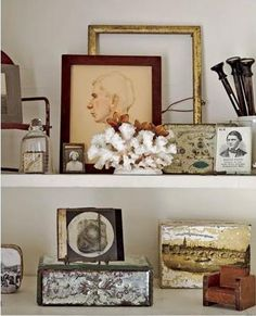 vintage display shelf vignette