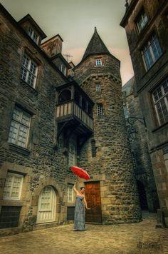 My Red Umbrella.  St. Malo, France